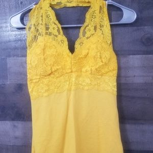Yellow lace top tank